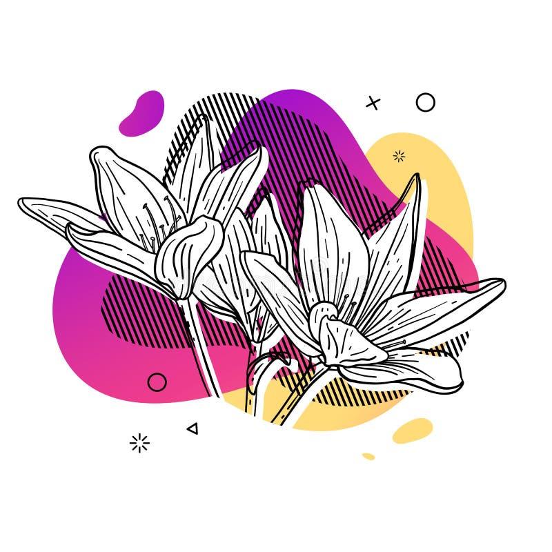 Τυπωμένη ύλη σχεδίου προτύπων με τη γραμμή λουλουδιών Αφίσα με τη σύγχρονη αφηρημένη μορφή κλίσης με το άνθος κρίνων Απεικόνιση γ απεικόνιση αποθεμάτων