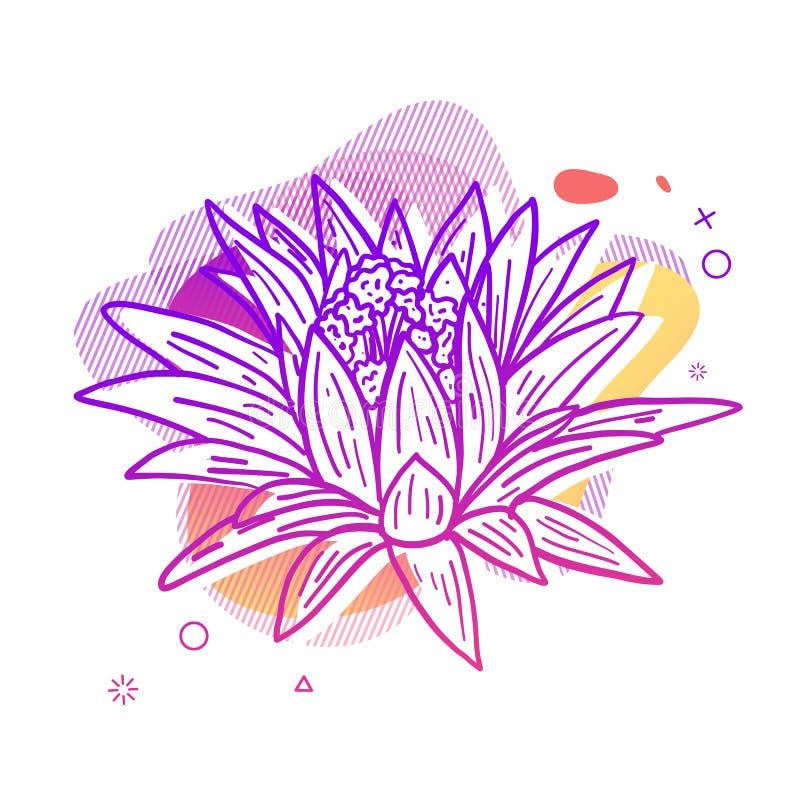 Τυπωμένη ύλη σχεδίου προτύπων με τη floral γραμμή γραφικός Αφίσα με τη σύγχρονη αφηρημένη μορφή κλίσης με το άνθος λουλουδιών ελεύθερη απεικόνιση δικαιώματος