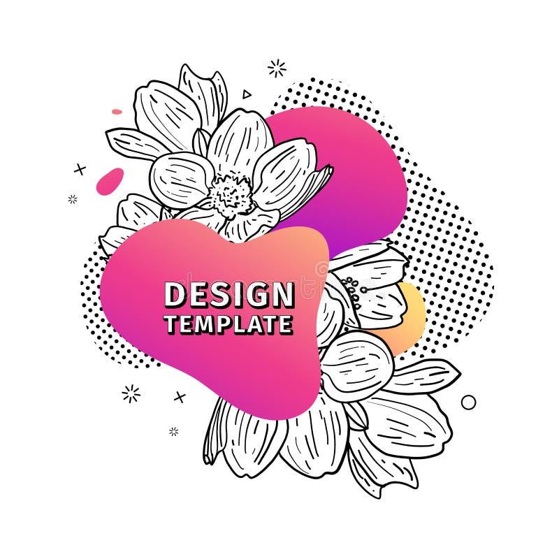 Τυπωμένη ύλη σχεδίου προτύπων με τη floral γραμμή γραφικός Αφίσα με τη σύγχρονη αφηρημένη μορφή κλίσης με το άνθος λουλουδιών διανυσματική απεικόνιση