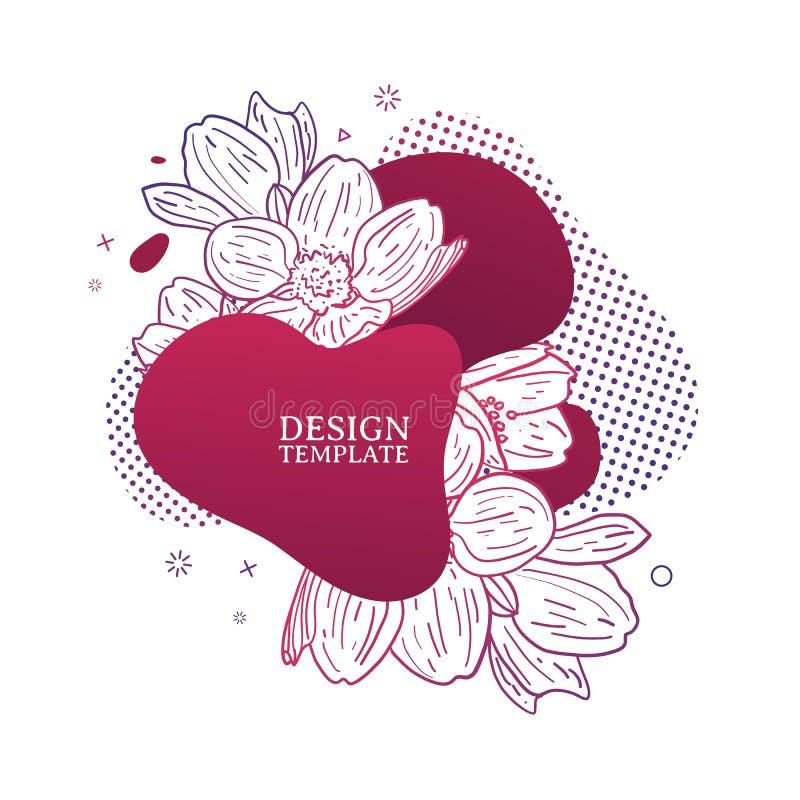 Τυπωμένη ύλη σχεδίου προτύπων με τη floral γραμμή γραφικός Αφίσα με τη σύγχρονη αφηρημένη μορφή κλίσης με το άνθος λουλουδιών απεικόνιση αποθεμάτων