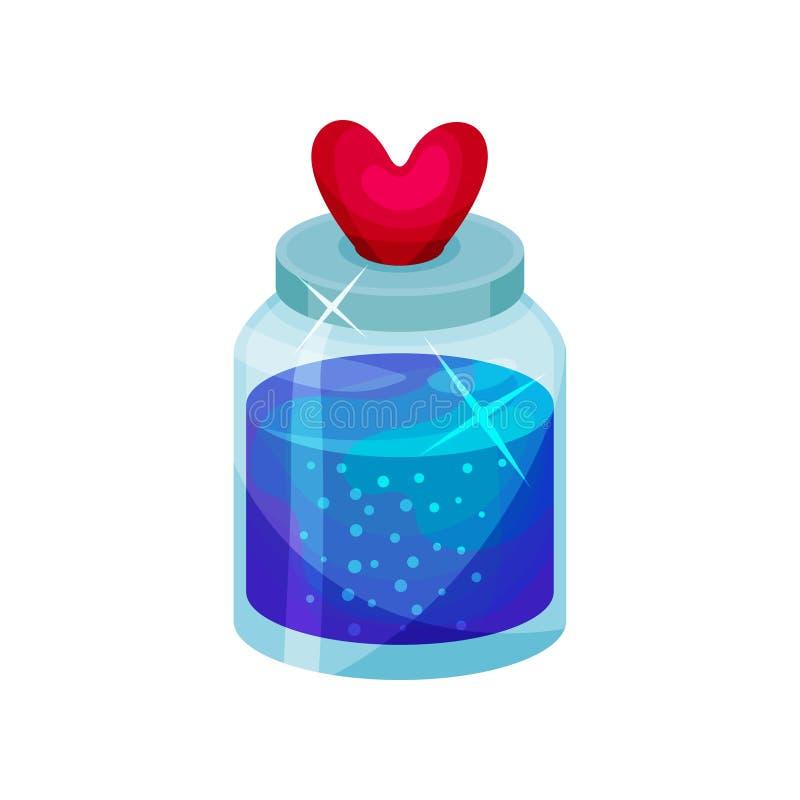 Φίλτρο αγάπης στο μικρό μπουκάλι με το καπάκι στη μορφή της καρδιάς Φωτεινό μπλε υγρό Μαγικό ελιξίριο Επίπεδο διανυσματικό εικονί διανυσματική απεικόνιση