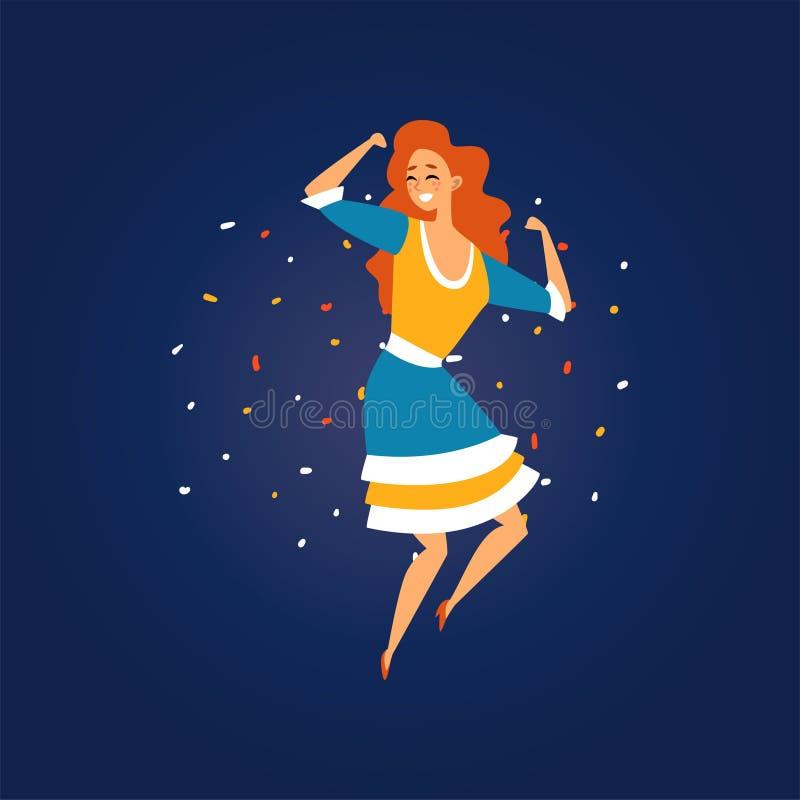 Φεστιβάλ Junina Βραζιλία Ιούνιος Festa, διανυσματική απεικόνιση κόμματος λαογραφίας κοριτσιών χαμόγελου που χορεύουν τη νύχτα ελεύθερη απεικόνιση δικαιώματος