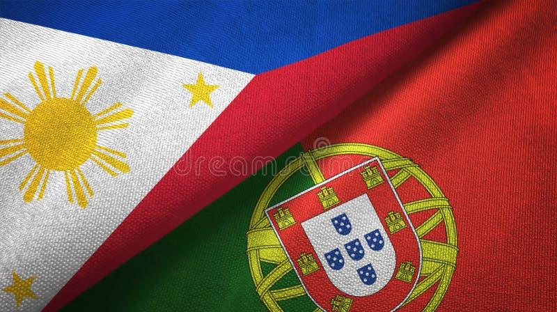 Φιλιππίνες και Πορτογαλία δύο υφαντικό ύφασμα σημαιών, σύσταση υφάσματος ελεύθερη απεικόνιση δικαιώματος