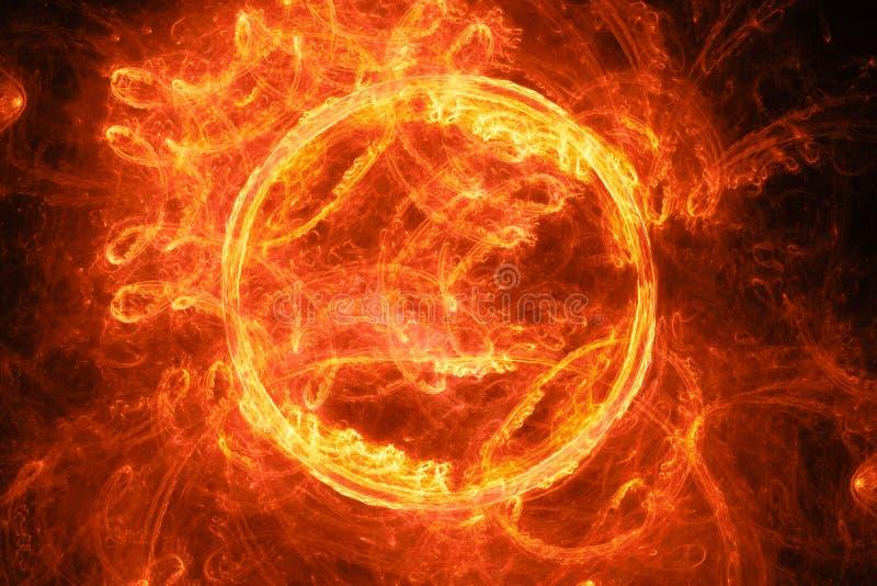Φλογερή καμμένος φλόγα δαχτυλιδιών στο διάστημα απεικόνιση αποθεμάτων