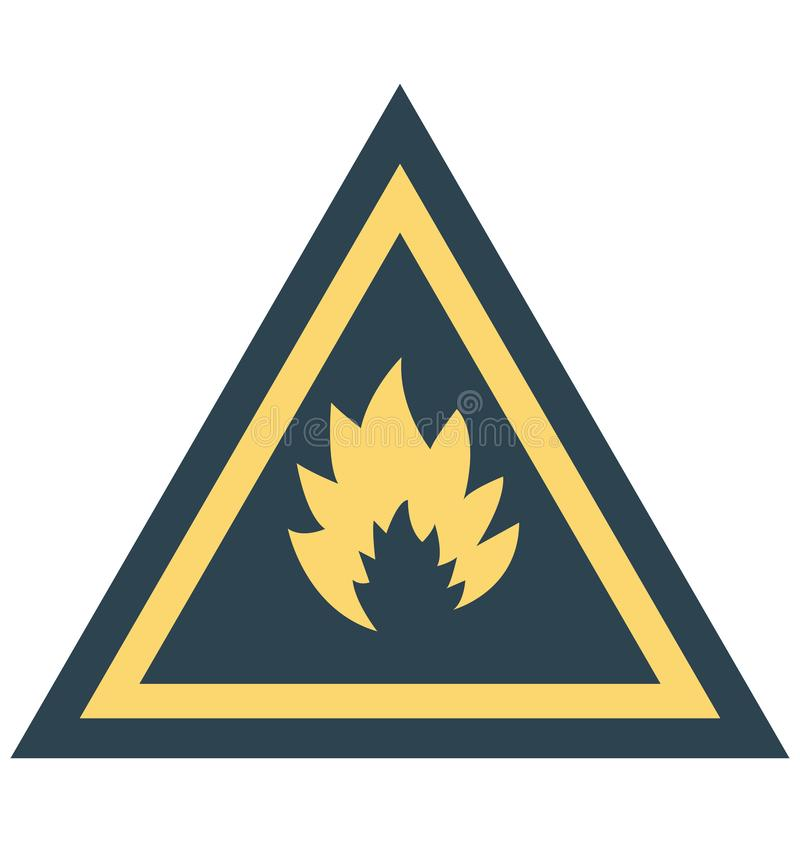 Φλόγα, επικίνδυνο απομονωμένο διανυσματικό εικονίδιο χρώματος που μπορεί να τροποποιηθεί εύκολα ή να εκδώσει διανυσματική απεικόνιση