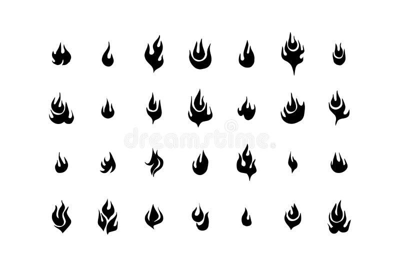Φλόγες πυρκαγιάς, καθορισμένη διανυσματική απεικόνιση εικονιδίων στο άσπρο υπόβαθρο απεικόνιση αποθεμάτων