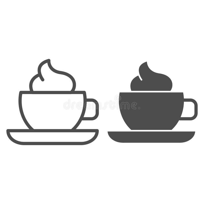 Φλυτζάνι καφέ με τη γραμμή και glyph το εικονίδιο κρέμας Κούπα του καφέ τη διανυσματική απεικόνιση αφρού που απομονώνεται με στο  απεικόνιση αποθεμάτων