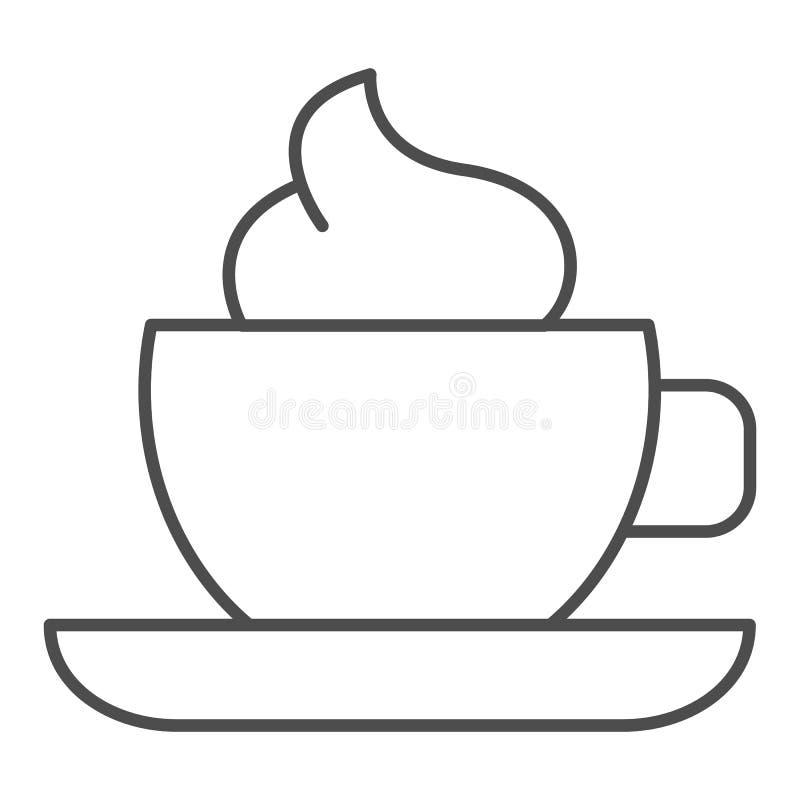 Φλυτζάνι καφέ με το λεπτό εικονίδιο γραμμών κρέμας Κούπα του καφέ τη διανυσματική απεικόνιση αφρού που απομονώνεται με στο λευκό  διανυσματική απεικόνιση