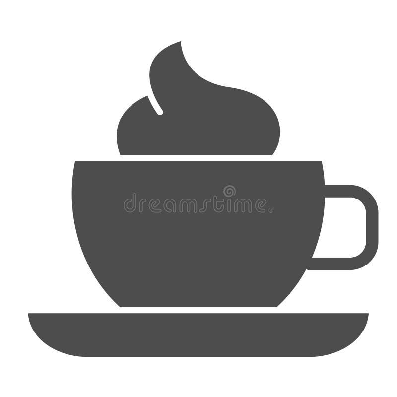 Φλυτζάνι καφέ με το στερεό εικονίδιο κρέμας Κούπα του καφέ τη διανυσματική απεικόνιση αφρού που απομονώνεται με στο λευκό Ύφος πο ελεύθερη απεικόνιση δικαιώματος