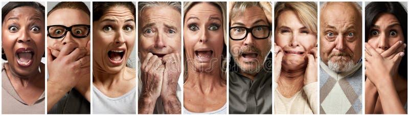 Φοβησμένοι έντρομοι τονισμένοι άνθρωποι στοκ εικόνα