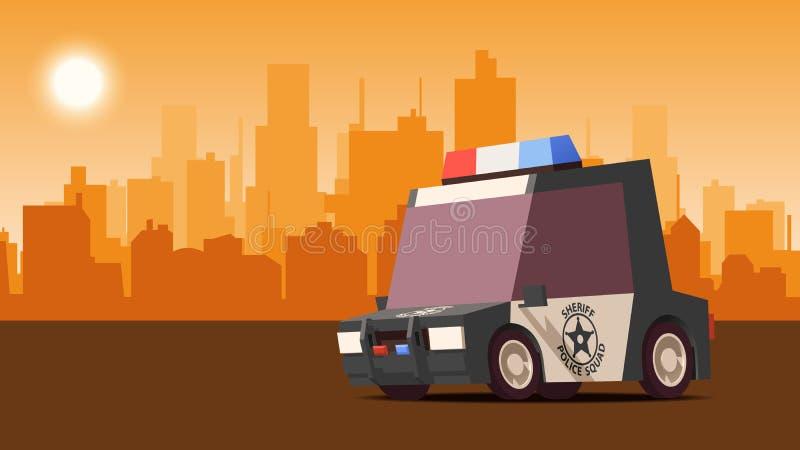 Φορείο αστυνομίας στο υπόβαθρο τοπίων πόλεων Ορισμένη IsoFlat διανυσματική απεικόνιση διανυσματική απεικόνιση