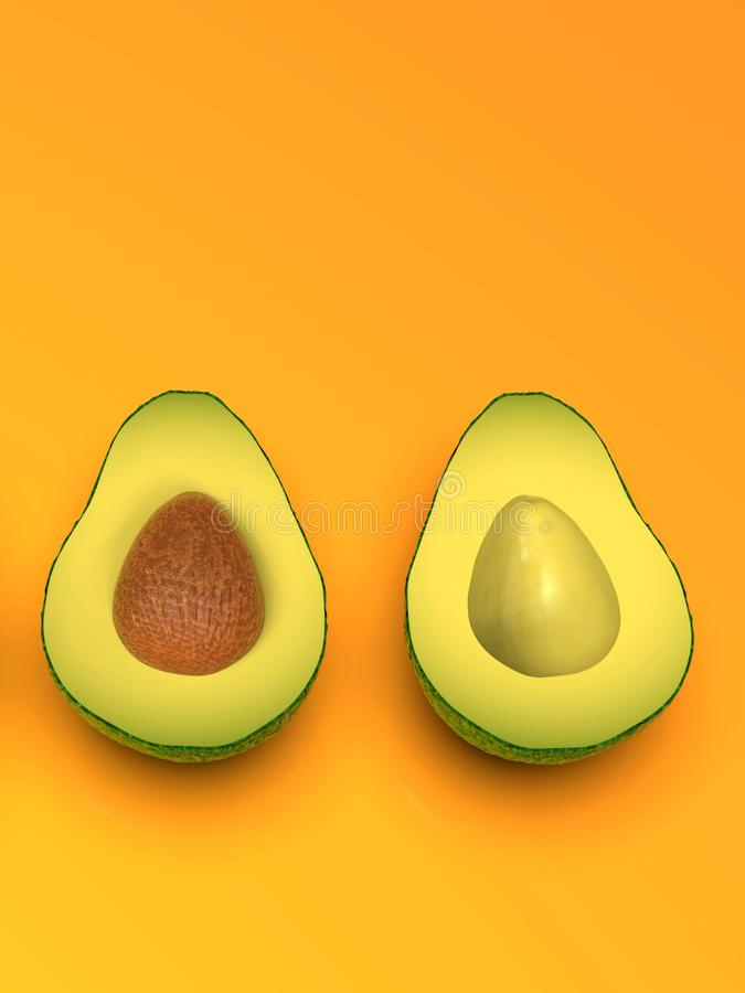Φρέσκο να φανεί πράσινα φρούτα αβοκάντο, περικοπή στο μισό, στο πορτοκάλι στοκ εικόνα με δικαίωμα ελεύθερης χρήσης