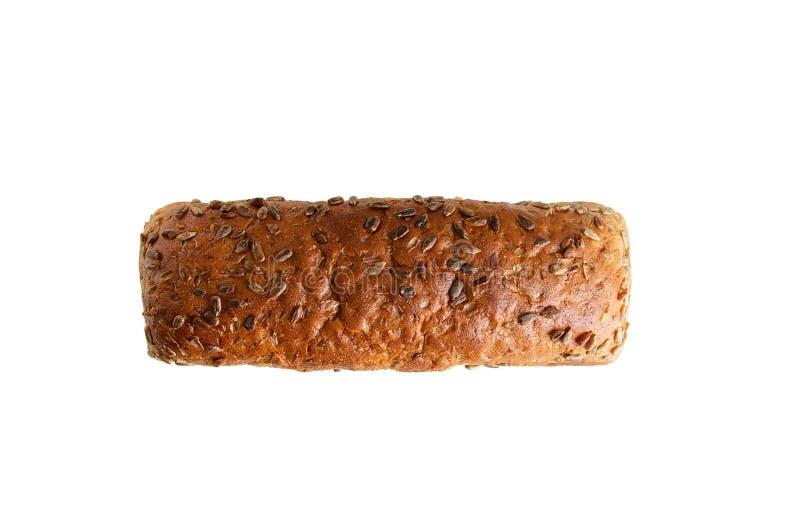 Φραντζόλα του ψωμιού σίκαλης με τους σπόρους επάνω από την όψη άσπρος απομονώστε στοκ φωτογραφία με δικαίωμα ελεύθερης χρήσης