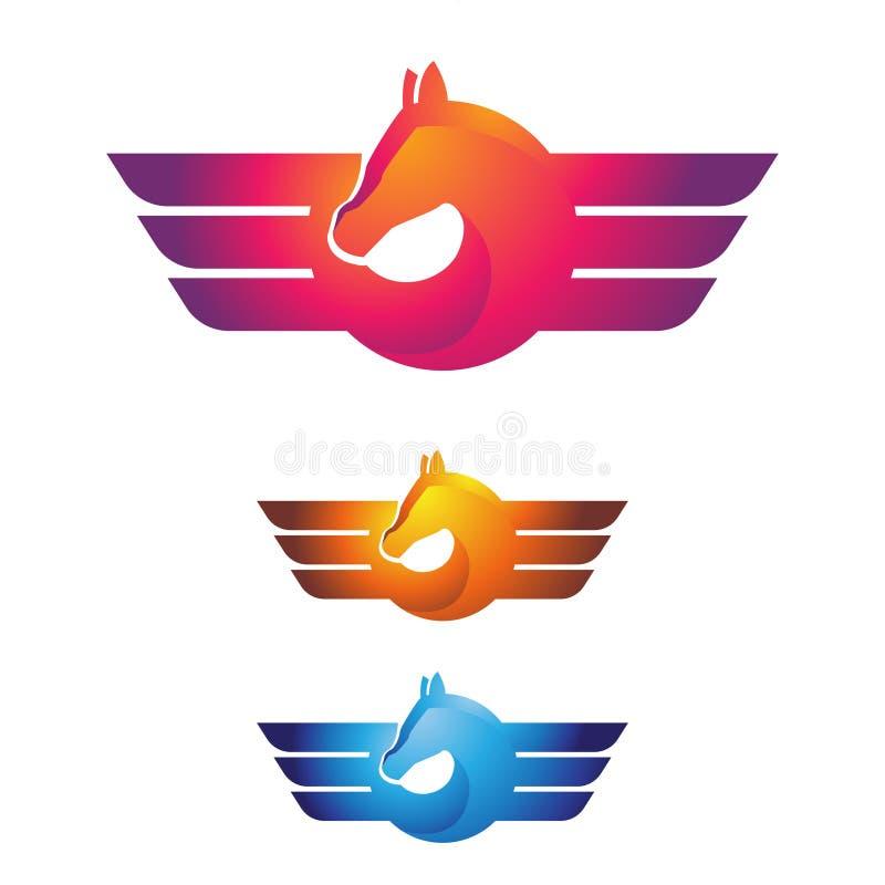 Φτερά ασπίδων αλόγων Pegasus που πετούν το κομψό σύμβολο λογότυπων ελεύθερη απεικόνιση δικαιώματος