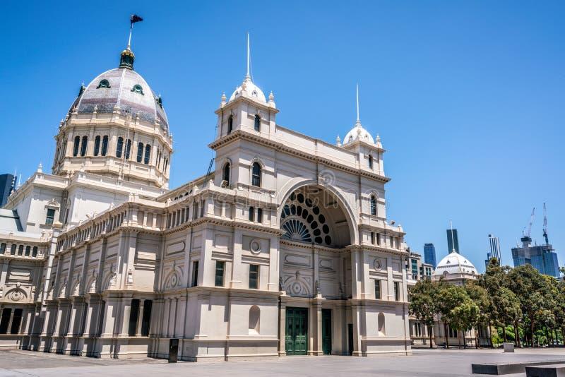 Φυσική άποψη της βασιλικής χτίζοντας βόρεια πλευράς έκθεσης μια περιοχή παγκόσμιων κληρονομιών στη Μελβούρνη VIC Αυστραλία στοκ φωτογραφία