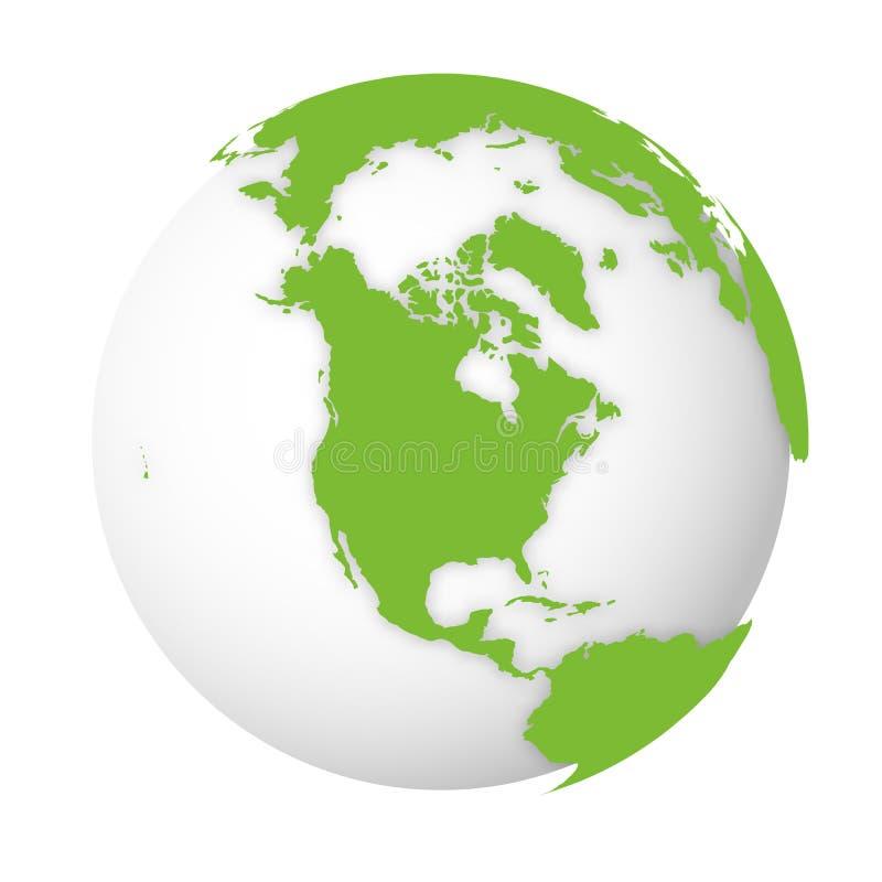 Φυσική γήινη σφαίρα τρισδιάστατος παγκόσμιος χάρτης με τα πράσινα εδάφη που ρίχνουν τις σκιές στην άσπρη σφαίρα επίσης corel σύρε απεικόνιση αποθεμάτων