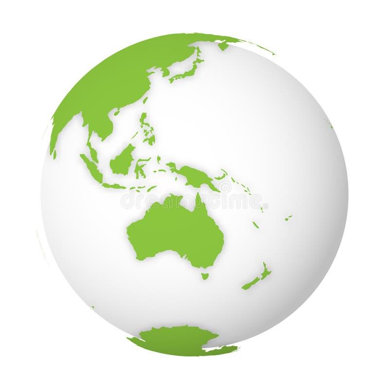 Φυσική γήινη σφαίρα τρισδιάστατος παγκόσμιος χάρτης με τα πράσινα εδάφη που ρίχνουν τις σκιές στην άσπρη σφαίρα επίσης corel σύρε διανυσματική απεικόνιση