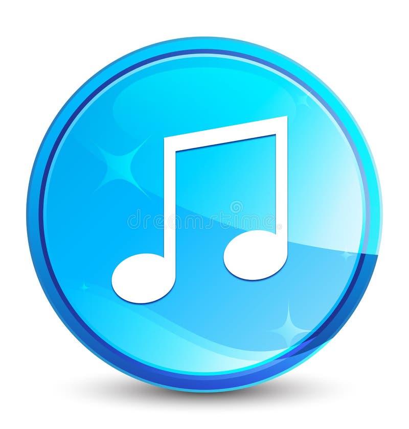 Φυσικό μπλε στρογγυλό κουμπί παφλασμών εικονιδίων μουσικής απεικόνιση αποθεμάτων