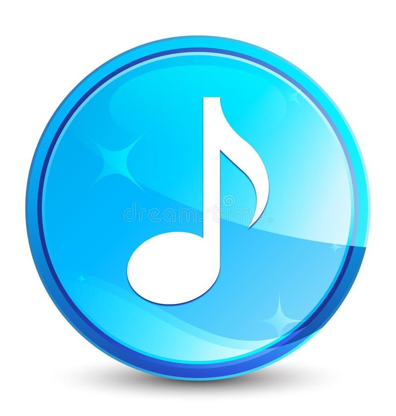 Φυσικό μπλε στρογγυλό κουμπί παφλασμών εικονιδίων μουσικής διανυσματική απεικόνιση