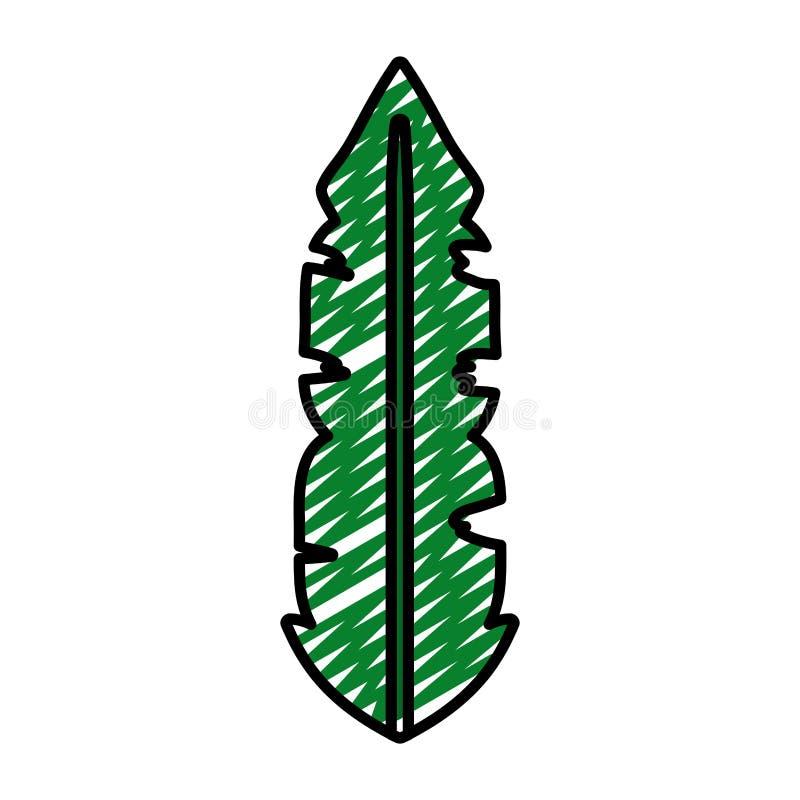 Φυσικό ύφος φύλλων Doodle βοτανικό τροπικό ελεύθερη απεικόνιση δικαιώματος