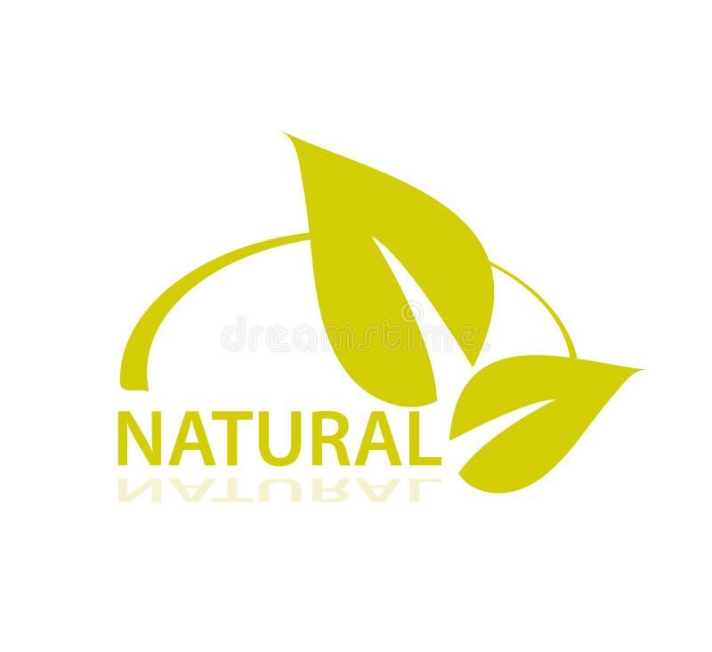 Φυσικό σύμβολο με τα φύλλα Υγιής τρόπος ζωής Πράσινη διανυσματική αυτοκόλλητη ετικέττα απεικόνιση αποθεμάτων
