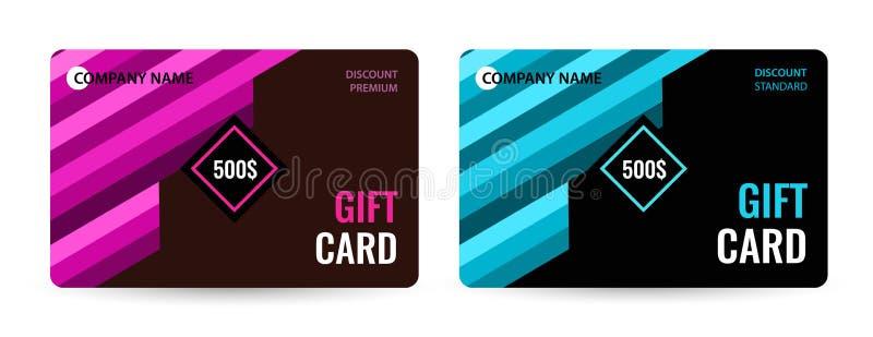 Φωτεινή κάρτα δώρων με τα ρόδινα και μπλε λωρίδες δημιουργικό δώρο καρτών διανυσματική απεικόνιση