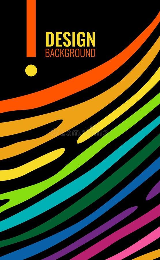 Φωτεινό ζωηρόχρωμο κάθετο αφηρημένο υπόβαθρο Γραμμές χρώματος στο μαύρο σκηνικό Σύγχρονο υπόβαθρο για το σχέδιο κάλυψης, ιπτάμενο απεικόνιση αποθεμάτων