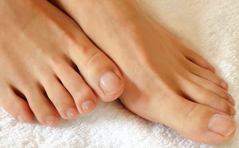 Φωτογραφία κινηματογραφήσεων σε πρώτο πλάνο των ποδιών και των toe γυναικών σε μια πετσέτα κατά τη διάρκεια του μασάζ ποδιών στοκ φωτογραφίες με δικαίωμα ελεύθερης χρήσης