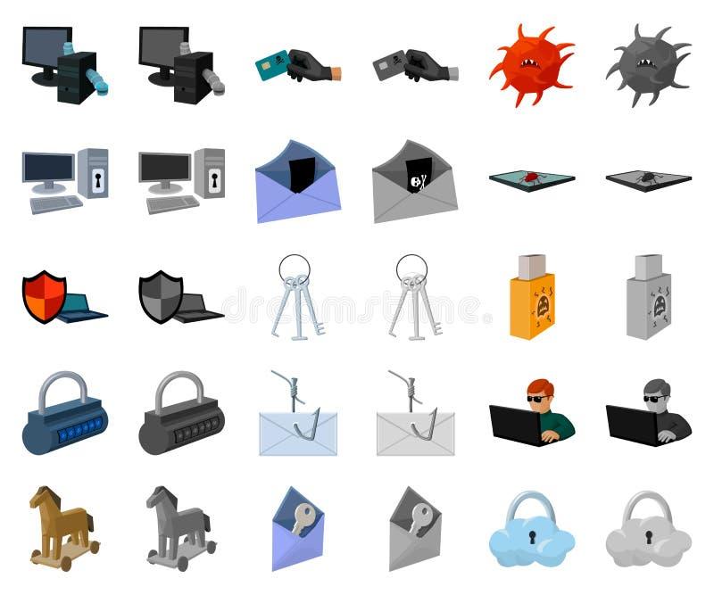 Χάκερ και κινούμενα σχέδια χάραξης, monochrom εικονίδια στην καθορισμένη συλλογή για το σχέδιο Διανυσματικός Ιστός αποθεμάτων συμ ελεύθερη απεικόνιση δικαιώματος