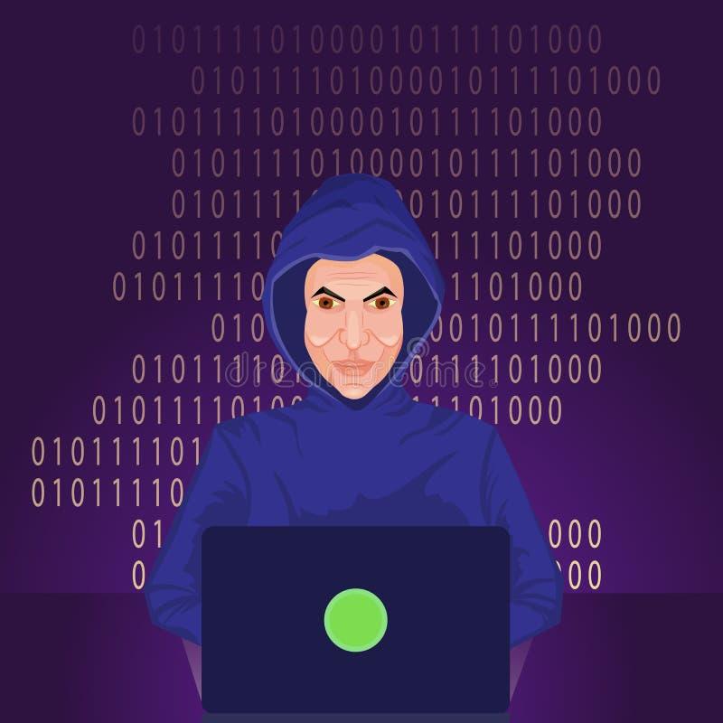 Χάκερ που χρησιμοποιεί το χαραγμένο Διαδίκτυο κεντρικό υπολογιστή υπολογιστών ελεύθερη απεικόνιση δικαιώματος
