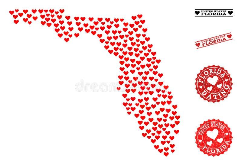Χάρτης κολάζ καρδιών των γραμματοσήμων κράτους και Grunge της Φλώριδας για τους βαλεντίνους διανυσματική απεικόνιση