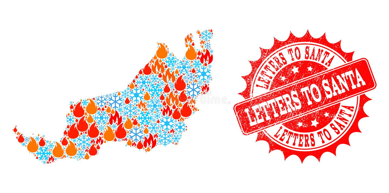 Χάρτης κολάζ μαλαισιανού Sarawak της φλόγας και του χιονιού και των επιστολών στο κατασκευασμένο γραμματόσημο Santa διανυσματική απεικόνιση