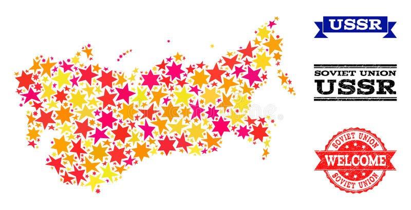 Χάρτης μωσαϊκών αστεριών των υδατοσήμων της ΕΣΣΔ και Grunge ελεύθερη απεικόνιση δικαιώματος