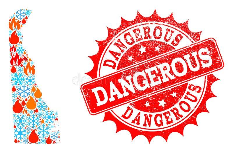 Χάρτης μωσαϊκών του κράτους του Ντελαγουέρ της φλόγας και του χιονιού και του επικίνδυνου γραμματοσήμου Grunge απεικόνιση αποθεμάτων