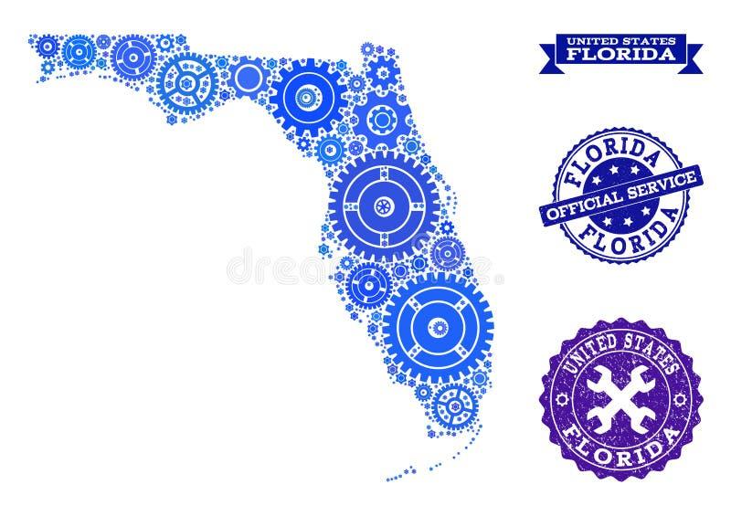 Χάρτης μωσαϊκών του κράτους της Φλώριδας με τα βαραίνω και τις σφραγίδες Grunge για την υπηρεσία απεικόνιση αποθεμάτων