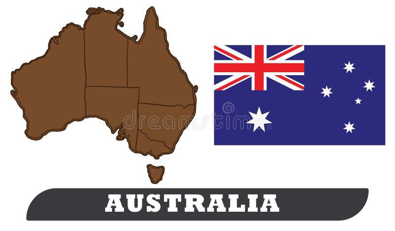χάρτης σημαιών της Αυστραλίας διανυσματική απεικόνιση