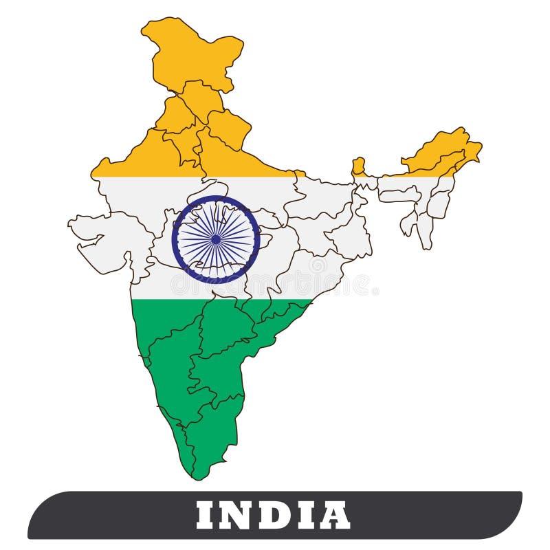 Χάρτης της Ινδίας και σημαία της Ινδίας ελεύθερη απεικόνιση δικαιώματος