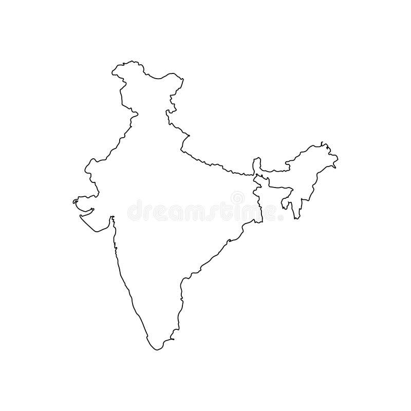 Χάρτης της Ινδίας των μαύρων καμπυλών περιγράμματος της διανυσματικής απεικόνισης απεικόνιση αποθεμάτων