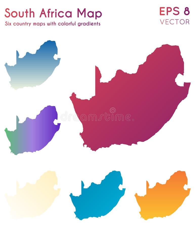 Χάρτης της Νότιας Αφρικής με τις όμορφες κλίσεις απεικόνιση αποθεμάτων
