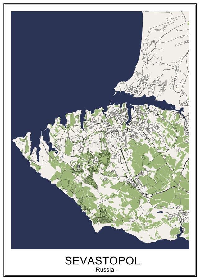 Χάρτης της πόλης της Σεβαστούπολης, Κριμαία διανυσματική απεικόνιση
