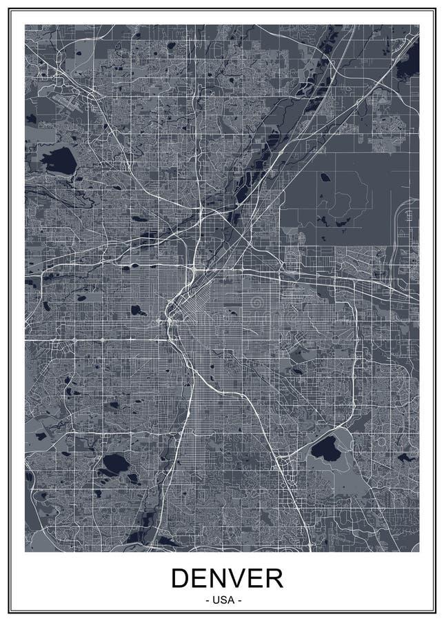 Χάρτης της πόλης του Ντένβερ, Κολοράντο, ΗΠΑ διανυσματική απεικόνιση