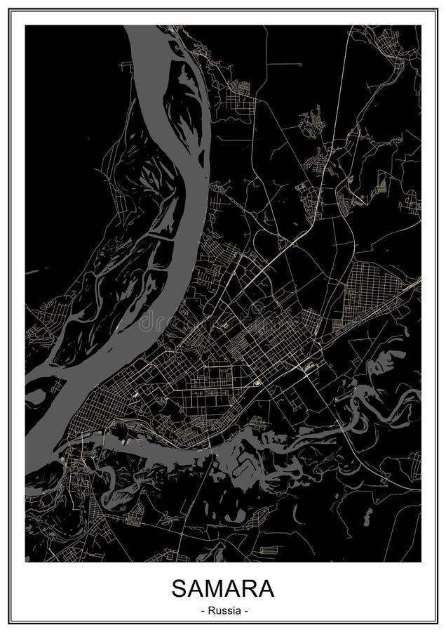 Χάρτης της πόλης της Samara, Ρωσία ελεύθερη απεικόνιση δικαιώματος