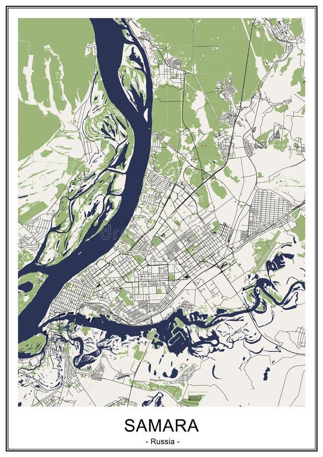 Χάρτης της πόλης της Samara, Ρωσία απεικόνιση αποθεμάτων