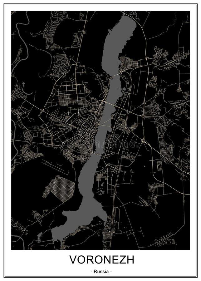 Χάρτης της πόλης Voronezh, Ρωσία απεικόνιση αποθεμάτων