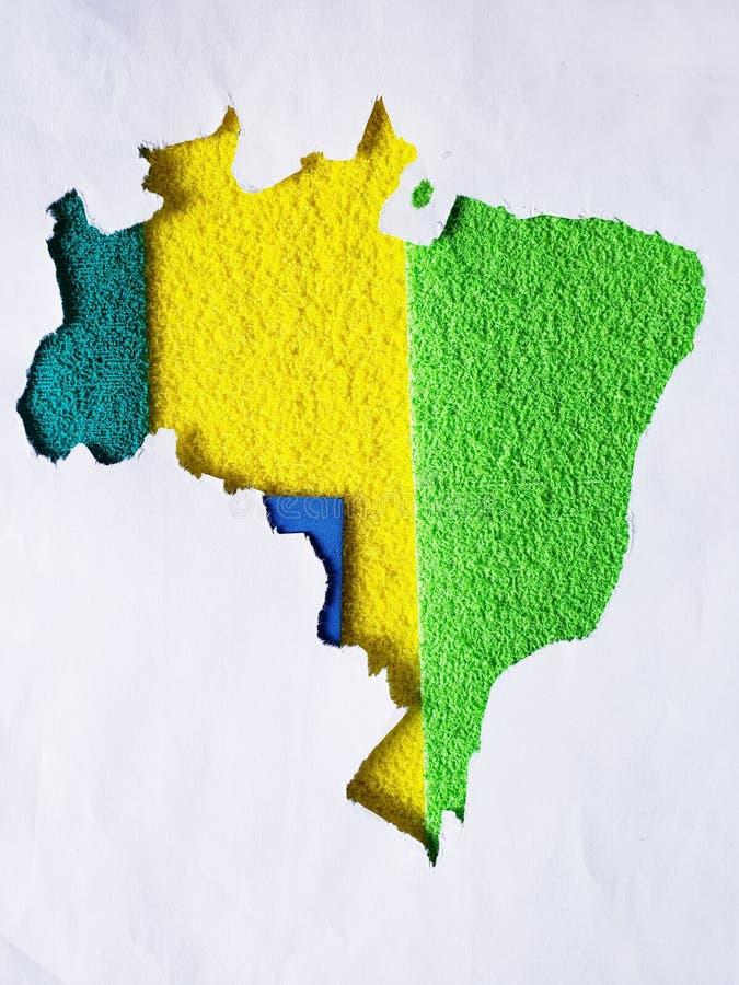 χάρτης του εδάφους της Βραζιλίας στα πράσινα και κίτρινα χρώματα στοκ φωτογραφίες