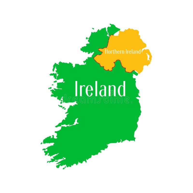 Χάρτης του ιρλανδικού κράτους σε ένα άσπρο υπόβαθρο Τμήμα γενικών πληροφοριών του εδάφους επίσης corel σύρετε το διάνυσμα απεικόν στοκ εικόνα