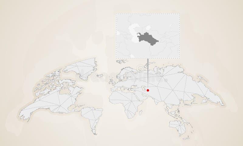 Χάρτης του Τουρκμενιστάν με τις χώρες γειτόνων που καρφώνονται στον παγκόσμιο χάρτη διανυσματική απεικόνιση