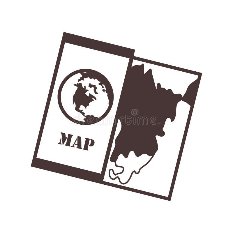 Χάρτης πεζοπορίας Tuorism και χαρτογραφία εικονιδίων απλό ύφος απεικόνιση αποθεμάτων