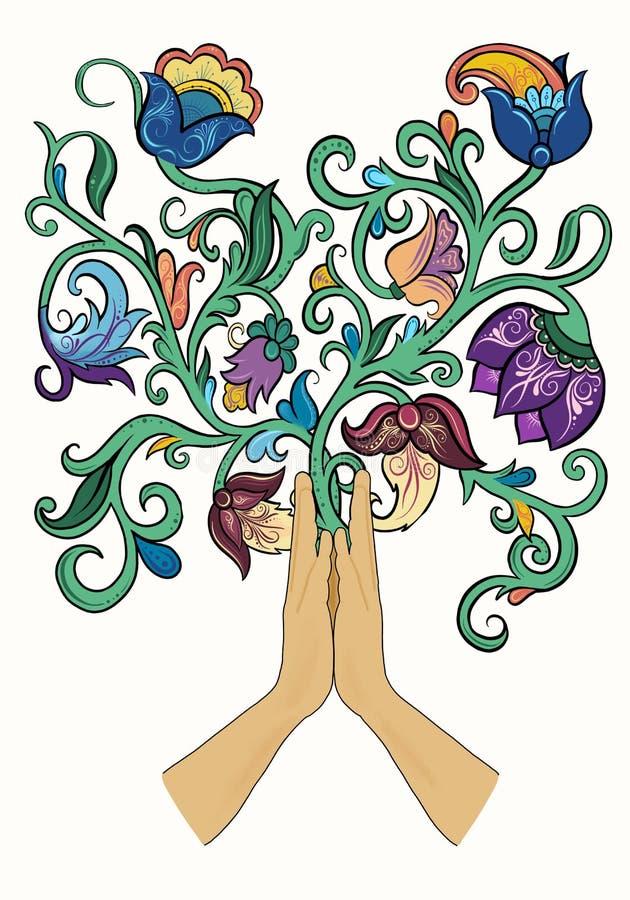 Χέρια Namaste με τη floral διακόσμηση ελεύθερη απεικόνιση δικαιώματος