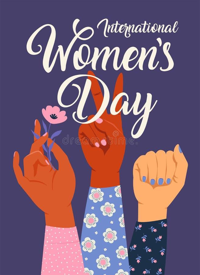 Χέρι γυναικών s με την πυγμή της που αυξάνεται επάνω Δύναμη κοριτσιών Έννοια φεμινισμού Ρεαλιστική διανυσματική απεικόνιση ύφους  απεικόνιση αποθεμάτων